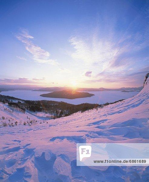 Winter  Schönheit  über  Sonnenaufgang  See  Hokkaido  Japan  Kussharo