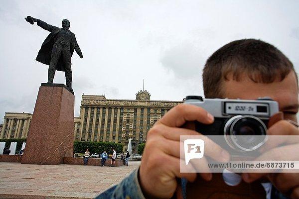 Wohnhaus, Statue, Lenin, Russland
