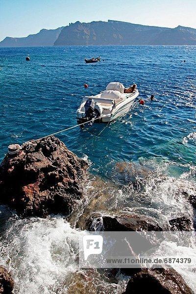 Boot  Santorin  Griechenland  Oia  Ia