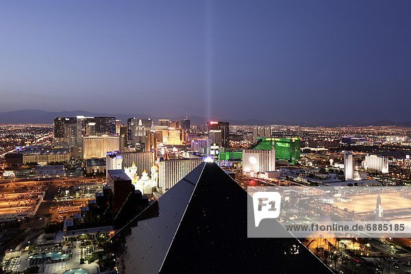 Elevated view of casinos on The Strip  Las Vegas  Nevada  United States of America  North America