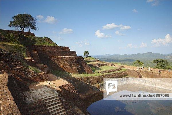 People at summit of Sigiriya  UNESCO World Heritage Site  North Central Province  Sri Lanka  Asia