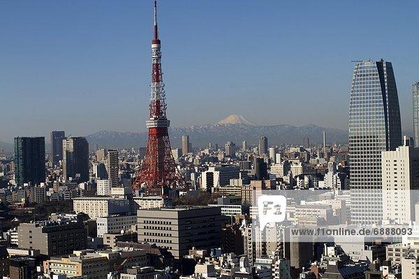 Skyline  Skylines  Großstadt  Tokyo  Hauptstadt  Berg  Fuji  Asien  Japan