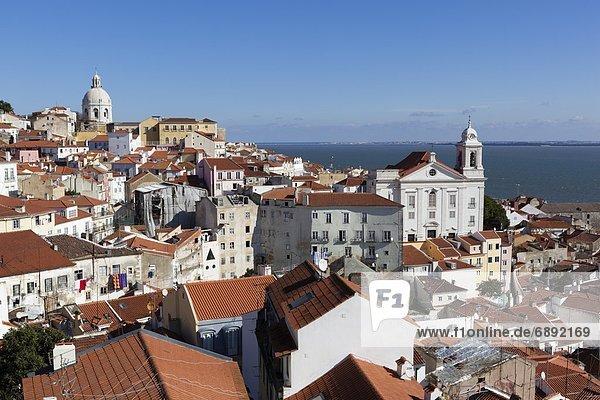 Lissabon  Hauptstadt  Europa  über  Ansicht  Alfama  Ortsteil  Miradouro  Portugal