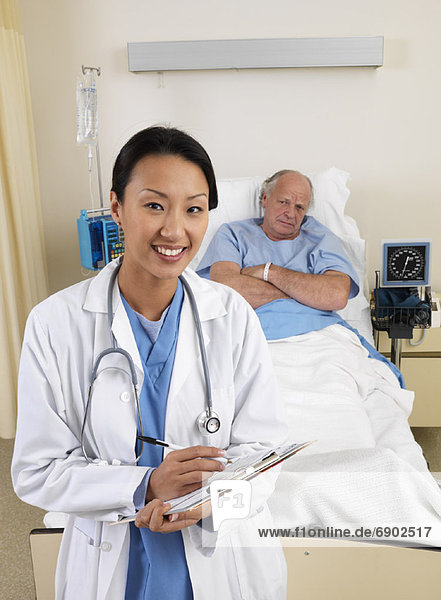 Doctor and Patient in Hospital Room