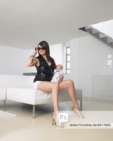 Mother and Baby in Upscale Apartment