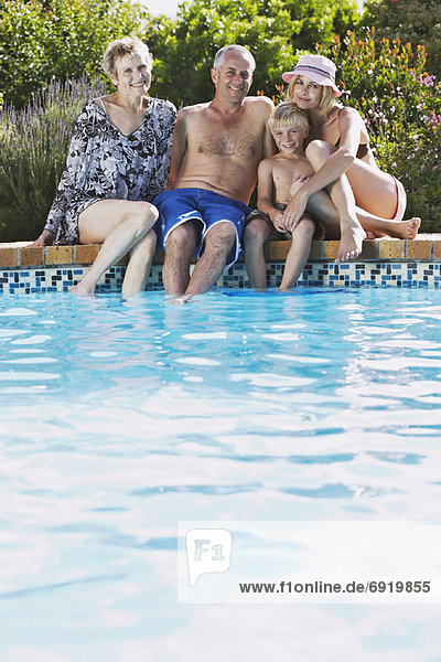 Family by Pool