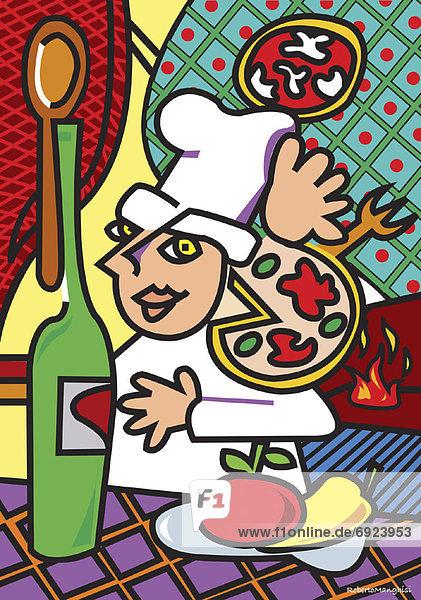 Produktion  Illustration  Pizza  Köchin