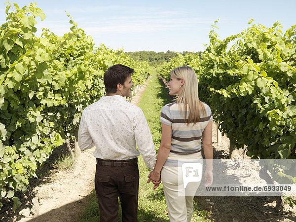 Couple Walking in Winery  Vineland  Ontario  Canada