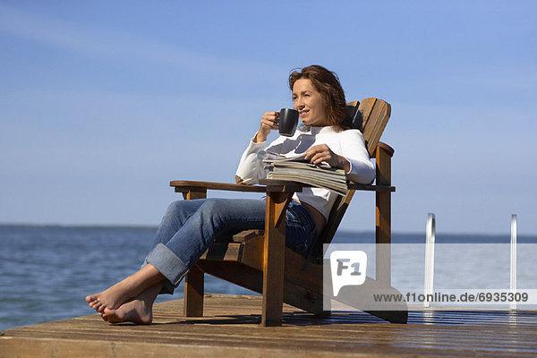 Wasser  Frau  Entspannung  Dock