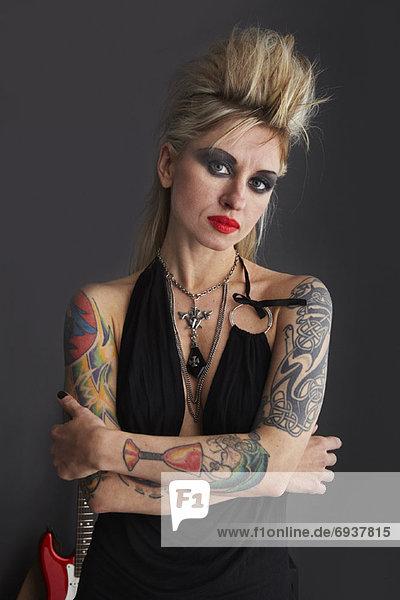 Portrait  Frau  Gitarre