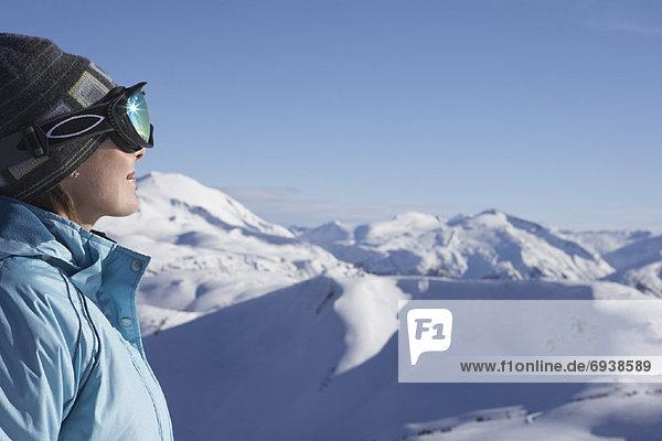 Frau  Hügel  hoch  oben  Ski  Kanada