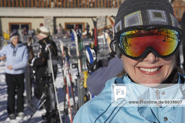 Woman Wearing Ski Goggles  Whistler  BC  Canada