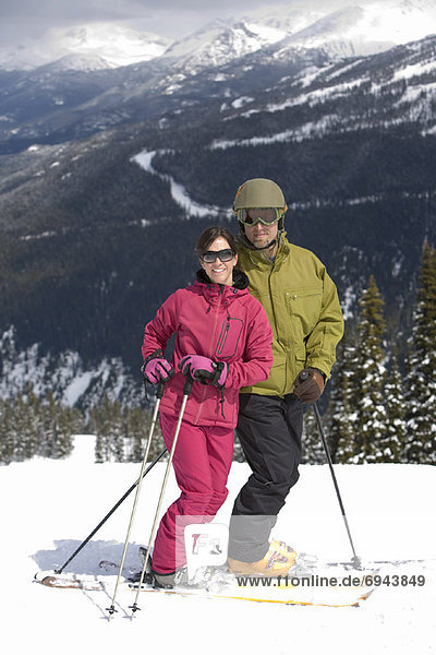 Portrait of Couple Skiing  Whistler  British Columbia  Canada
