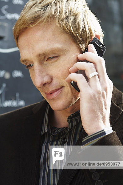 Close-Up of Man on Cell Phone