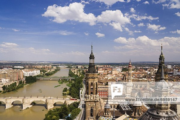 Overview of Ebro River from Basilica of Our Lady of the Pillar  Zaragoza  Aragon  Spain