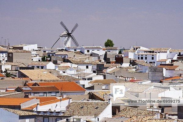 Windmill and Town  Campo de Criptana  La Mancha  Spain