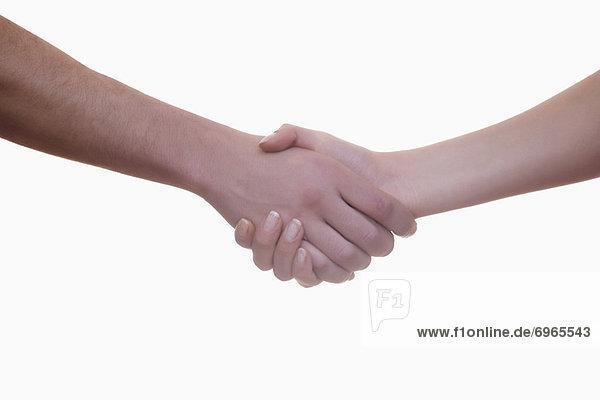 Mann und Frau Händeschütteln