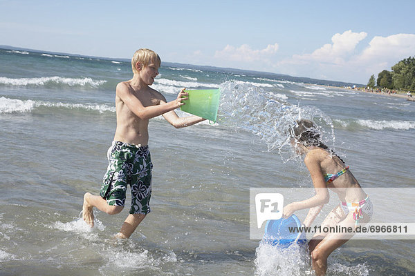 Kids Playing on the Beach  Elmvale  Ontario  Canada