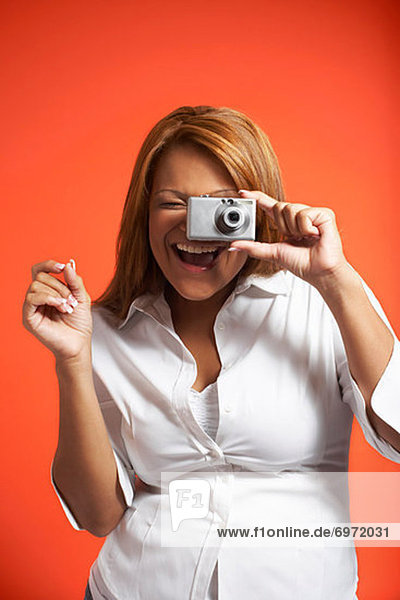 Portrait of Woman With Digital Camera