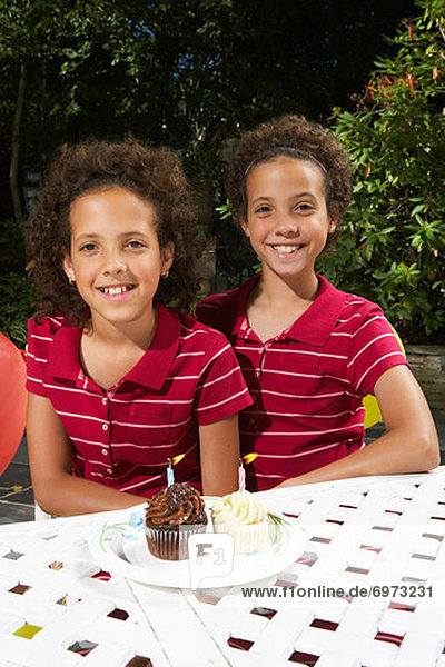 Portrait of Twin Sisters on their Birthday