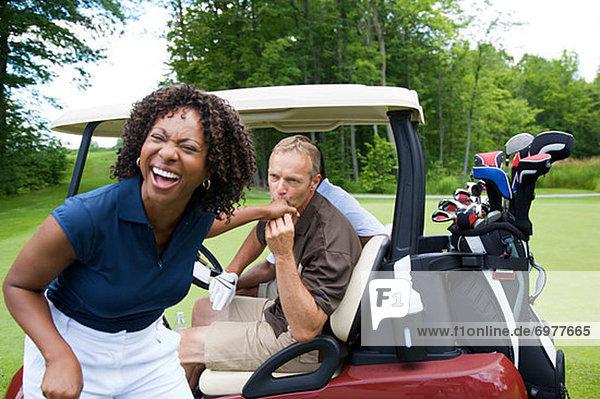 Mann  küssen  Frau  Golfsport  Golf  Kurs
