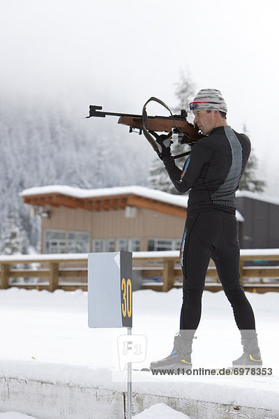Male Biathlon Athlete  Target Shooting  Whistler  British Columbia  Canada