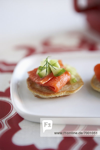 Mini Pancakes with Smoked Salmon  Cucumber and Dill