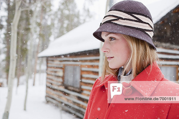 Woman in Red Coat  Frisco  Summit County  Colorado  USA