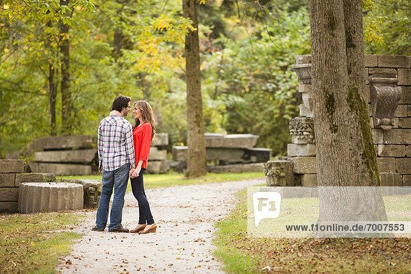 stehend  Weg  Herbst  jung  Kanada  Ontario