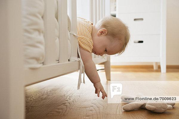 Spielzeug  belegt  übergeben  Mädchen  Baby  Gitterbett  die Hand ausstrecken