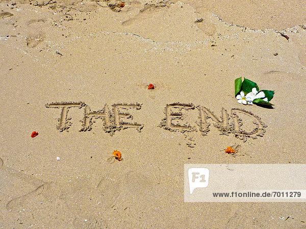 schreiben  Sand  Ende