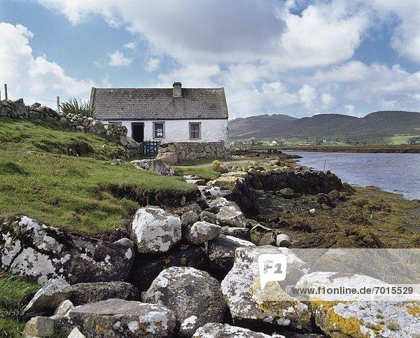 Traditional Irish Cottages  Inishnee Island Near Roundstone