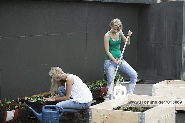 Teenager-Mädchen arbeiten im modernen Garten