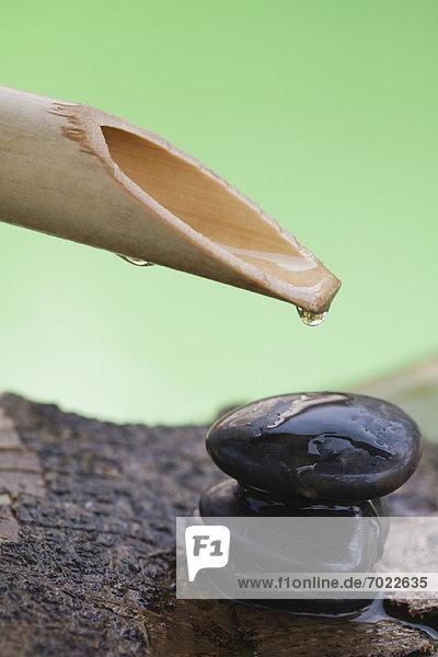 Stapel  Wasser  Wassertropfen  Tropfen  über  hängen  Kieselstein  Bambus  Weihwasserbecken  Felssäule