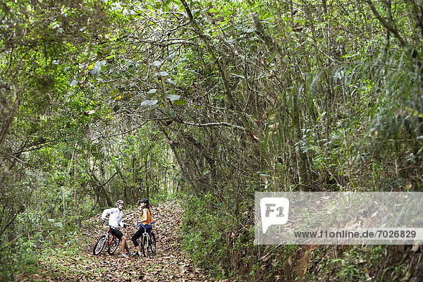 sprechen  Fahrradfahrer  Wald  2