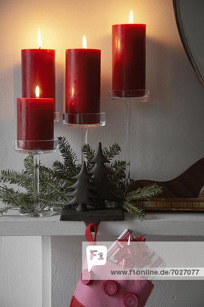 nahe  verbrennen  Weihnachten  Dekoration  Kerze