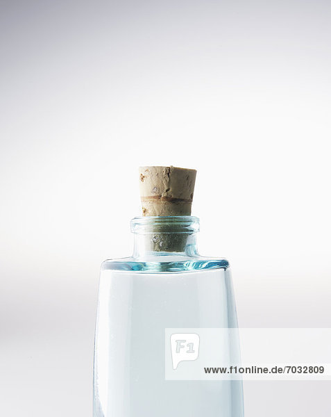 Close-Up of Single Glass Bottle with Cork