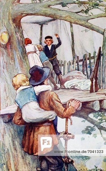 hoch oben Baumhaus tragen Leiter Leitern Wohnhaus Menschlicher Vater Sohn flirten Baum Seil Tau Strick begrenzen Illustration jung schweizerisch
