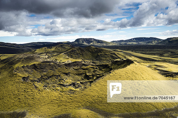Aerial view  moss-covered Craters of Laki or LakagÌgar  Icelandic Highlands  Southern Iceland  Su_urland  Iceland  Europe