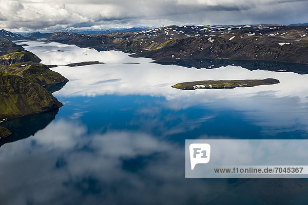Aerial view  Lake LangisjÛr  moss-covered mountains  Icelandic Highlands  Iceland  Europe