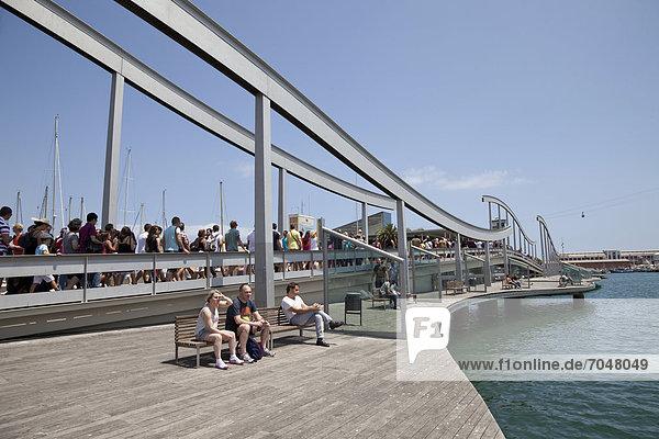Modern footbridge  Rambla de Mar  in Port Vell  Barcelona  Catalonia  Spain  Europe  PublicGround