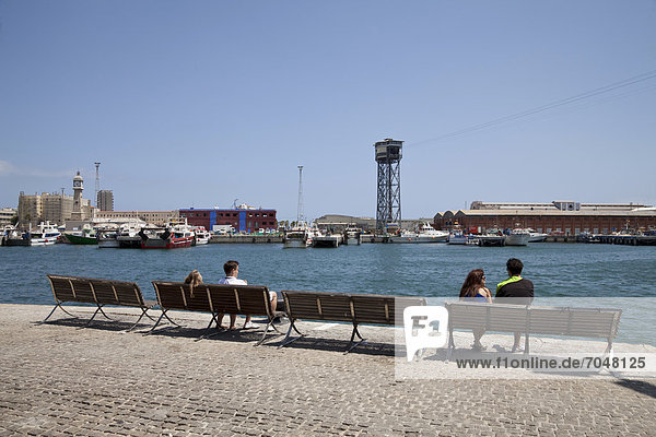 Benches on the harbour shore  Port Vell  Barcelona  Catalonia  Spain  Europe  PublicGround