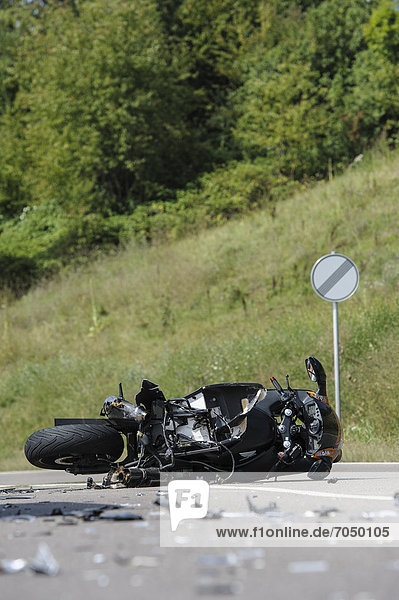 Crash site  motorcycle accident on the L 1150 motorway between Welzheim and Haubersbronn  Baden-Wuerttemberg  Germany  Europe