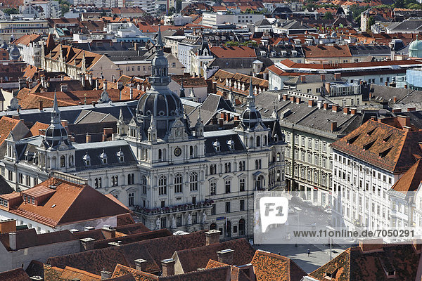 View over Graz Town Hall from Schlossberg Mountain  Graz  capital city of the state of Styria  Austria  Europe