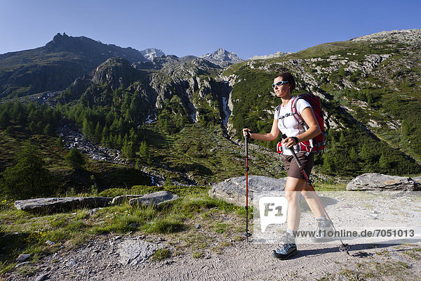 Hiker on the Merano High Mountain Trail  during the ascent to Hochwilde Mountain in the Pfossen Valley  Val Senales  Alto Adige  Italy  Europe
