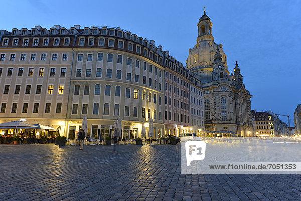 Europa Kirche Dresden Abenddämmerung Deutschland Sachsen