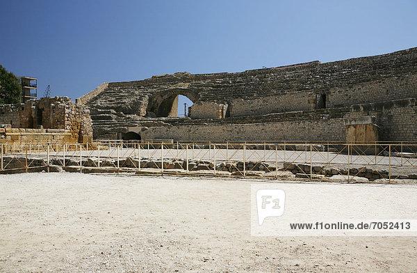Römisches Amphitheater  Ausgrabungsstätte  Tarragona  Katalonien  Spanien  Europa