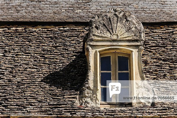 Dach Frankreich Stein Fenster Tradition Bildhauerei Dordogne
