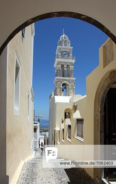 Mandatory Credit: Photo by Ros Drinkwater / Rex Features (1872701aa) The bell tower of St John's Catholic Church  Fira  Santorini  Southern Aegean Sea Greece - 2012