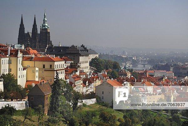 Mandatory Credit: Photo by Eye Ubiquitous / Rex Features (1906051a) St Vitus Cathedral rises above the city and the River Vltava. Prague Bohemia Czech Republic Czech Republic